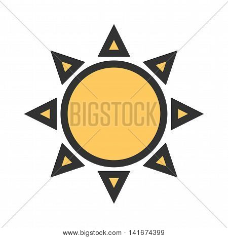 Sun, solar, hot icon vector image.Can also be used for astronomy. Suitable for use on web apps, mobile apps and print media.