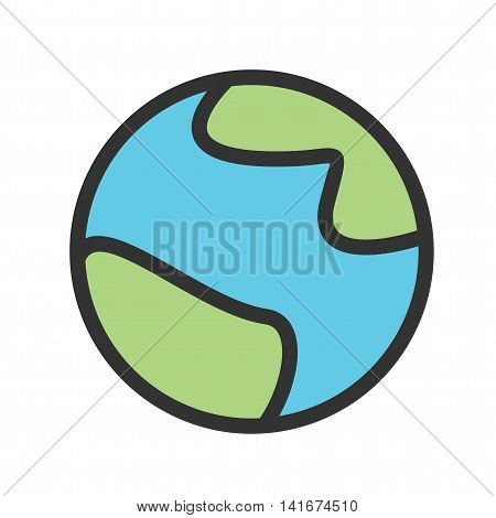 Earth, planet, space icon vector image.Can also be used for astronomy. Suitable for use on web apps, mobile apps and print media.