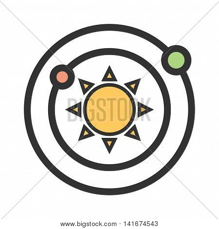 Space, planets, sun icon vector image.Can also be used for astronomy. Suitable for use on web apps, mobile apps and print media.
