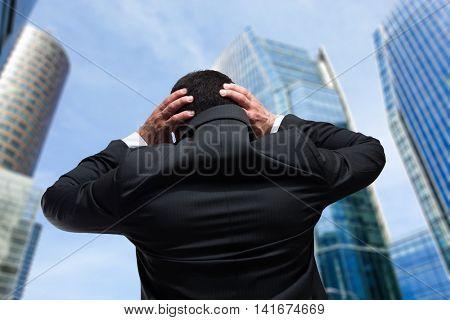 Desperate businessman in a big city