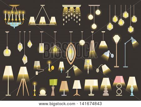 Lamp set isolated on black background. Interior light design vector illustration. Electricity floor, table, wall lamps. Lamps light interior decoration modern and classic style. Turn on