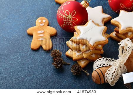 Christmas Cookies With Ginger, New Year Balls And Rolling Pin