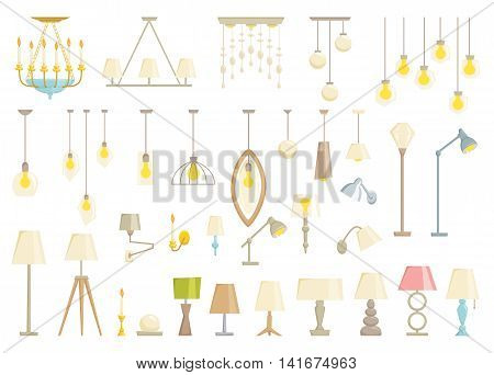 Lamp set isolated on black background. Interior light design vector illustration. Electricity floor, table, wall lamps. Lamps light interior decoration modern and classic style. Turn off