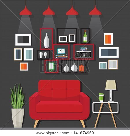 Interior living room with sofa clock shelf with a Flat style vector illustration.