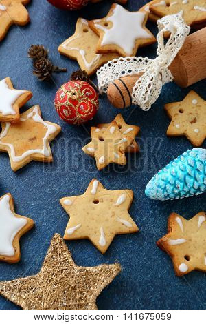 Christmas Cookies In The Shape Of Star And New Year Bauble