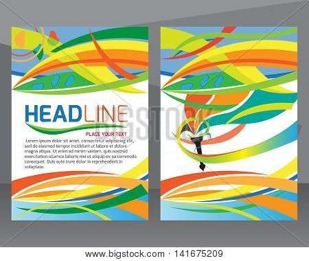 Set of brochures in colorful. Can be used in cover design book design website background CD cover advertising. A4 size layout.