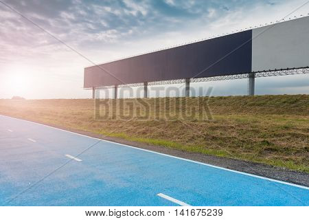 Advertising sign board on cloudy background, Billboard.
