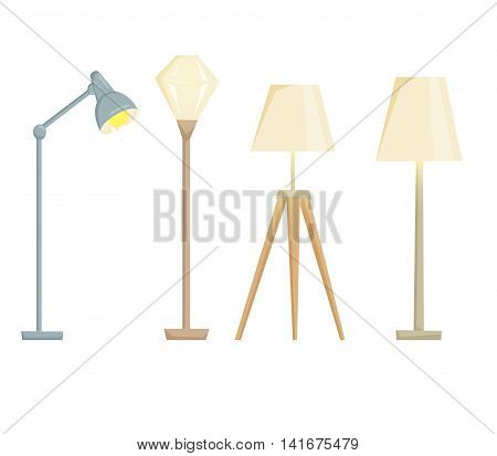 Lampshades on the floor set isolated on white background. Interior light design vector illustration. Floor lamps. Shade lamps light interior decoration modern and classic style. Turn on lampshades