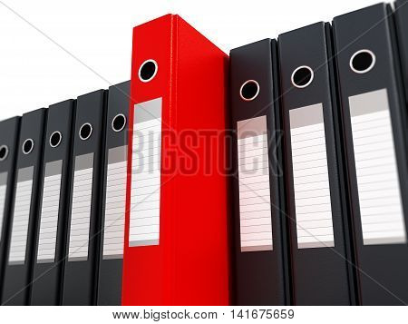 Red folder standing out from black folders. 3D illustration.