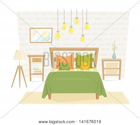 Bedroom interior with furniture and decoration in loft style. Bedroom interior cartoon vector illustration. Bedroom furniture and decor: bed, bedside table, lamp, pillow, shade. Modern interior