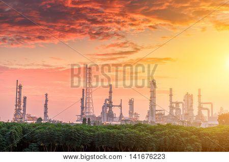 Morning scene twilight of oil refinery plant.