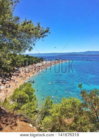 View of Zlatni Rat beach in Bol, on the island of Brac, Croatia.