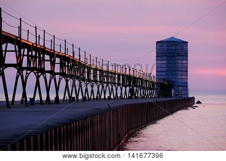 Manistee North Pierhead Lighthouse restoration, built in 1870, Lake Michigan, MI, USA