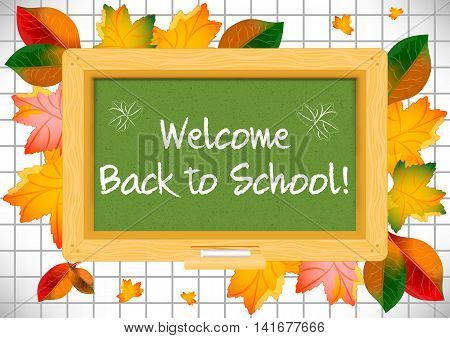 Postcard for Knowledge Day. Back to school. Green school board and autumn leaves around on page of notebook in cage with greeting written by white chalk. Vector illustration