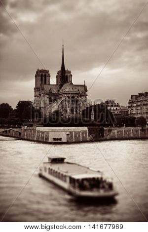 Notre-Dame Cathedral over River Seine tilt-shift