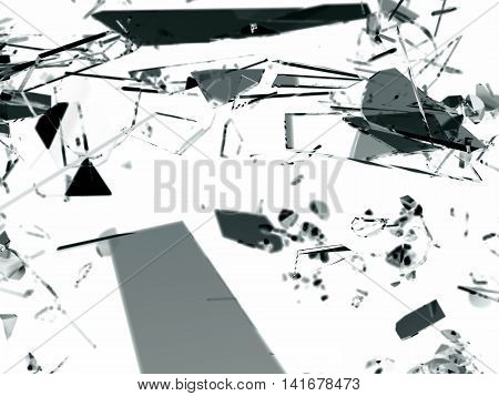 Pieces Of Destructed Shattered Glass On White