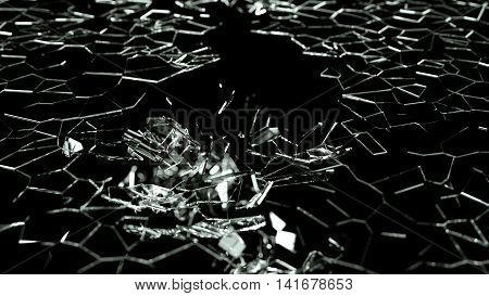 Shattered Or Demolished Glass Over Black