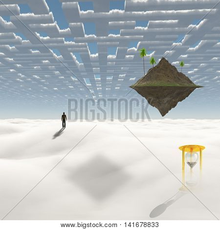 Man on the way to floating island 3D Render
