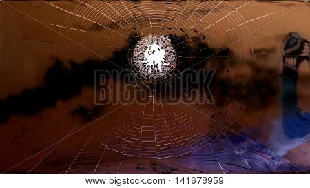Broken Window Glass On White Isolated