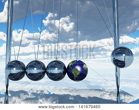 Newtons Cradle Earth 3D Render  Elements of this image furnished by NASA