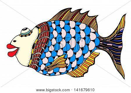 Stylized Hand Drawn Fish. Vector illustration image