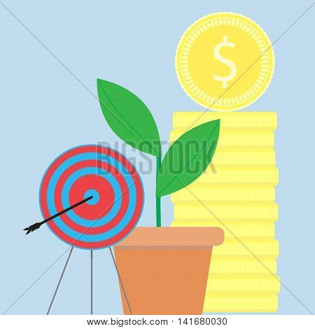 Successful startup illustration flat. Startup business metaphor vector stock gold coins