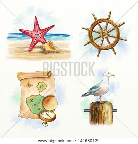 Nautical themed compositions including a starfish, seashell, ship wheel, old map, compass and seagull. Digital watercolor.