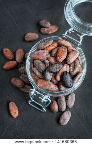 Cacao Beans In A Glass Jar
