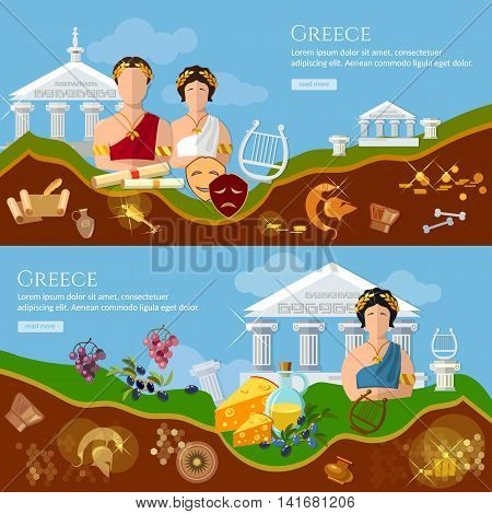 Ancient history. Ancient Greece and Ancient Rome tradition and culture vector illustration