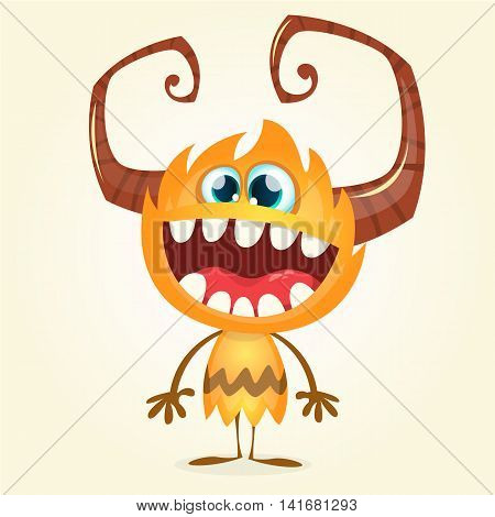 Happy orange monster. Vector Halloween horned monster character smiling isolated