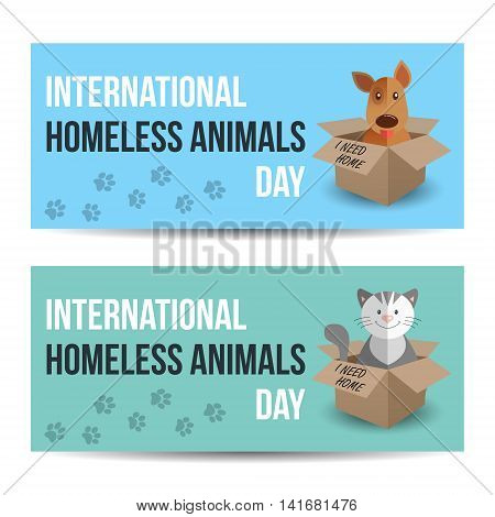 Modern colorful horizontal banners template. International homeless animals day. Cute cat and dog in a box with I Need Home text. Vector illustration for web design. Pets adoption concept.