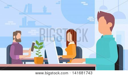 Business People Team Working Workplace Coworking Office Flat Vector Illustration