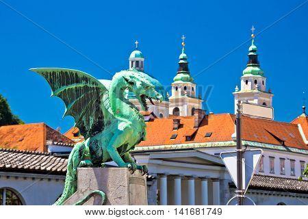 Dragon bridge and landmarks of Ljubljana view capital of Slovenia
