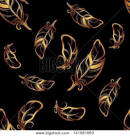 Hand drawn sketch style seamless pattern. Black feathers with golden outlines on black background. Irregular distribution of elements. EPS10 vector illustration.