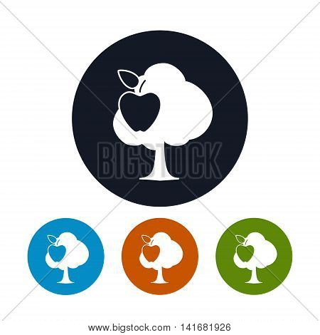 Icon Apple Tree, Four Types of Round Icons Tree with Apple , Agricultural Industry , Vector Illustration