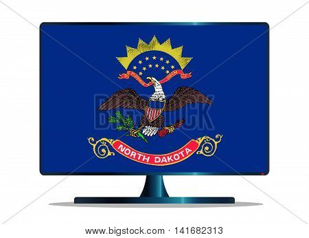 A TV or computer screen with the North Dakota state flag
