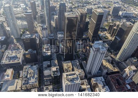 Los Angeles, California, USA - August 6, 2016:  Downtown highrise towers in afternoon summer smog.