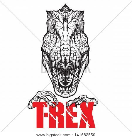 Detailed sketch style drawing of the roaring tirannosaurus rex head. Beast holding T-Rex sign in its claws. EPS10 vector illustration.