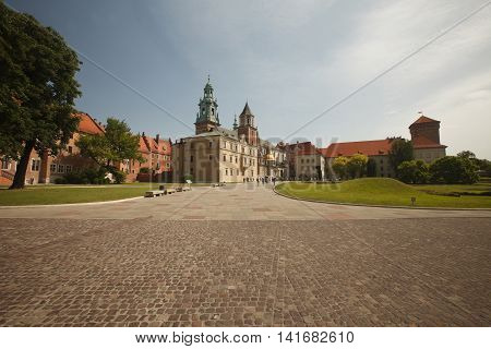 Panoramic View Of Courtyard Of Wawel Royal Castle With Zygmunt Cathedral, Poland