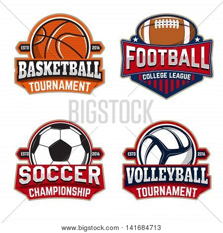 Set of basketball football soccer volleyball labels templates. Design element for logo label emblem sign brand mark. Vector illustration.
