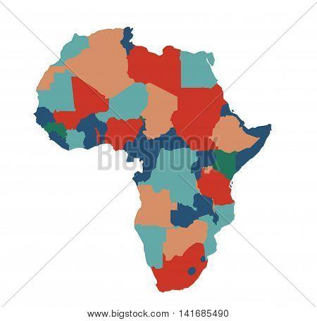Africa map illustration art on white background