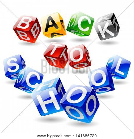 Vector isometric cube text Back to school