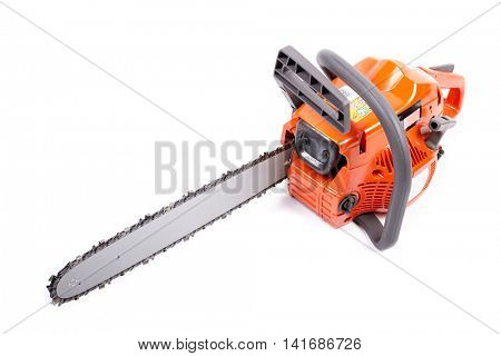 Orange chain saw on a white background.