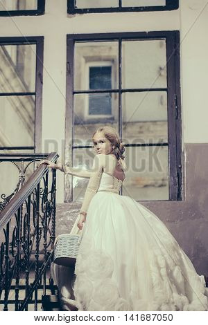 Small Girl In White Dress Near Big Window