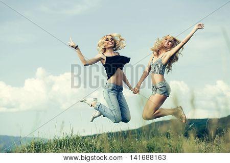 Pretty Women In Field Outdoor