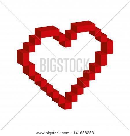 heart pixel love romatic passion icon. Isolated and flat illustration. Vector graphic