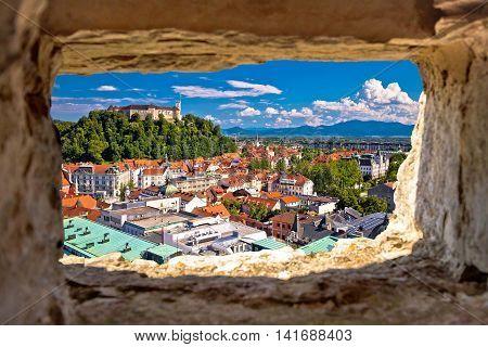 Ljubljana aerial view through stone window capital of Slovenia
