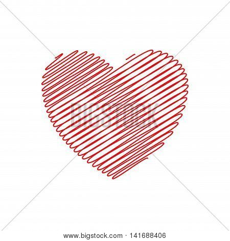 heart striped love romatic passion icon. Isolated and flat illustration. Vector graphic
