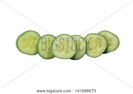 Cucumber slices on white background, studio shot