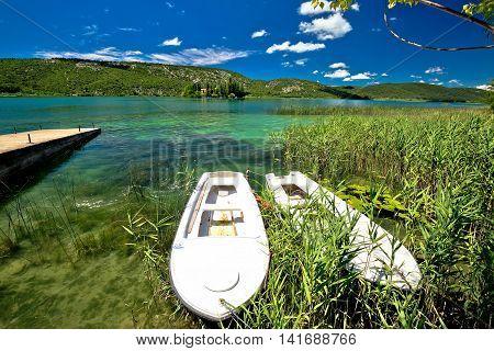 Visovac lake in Krka river national park Dalmatia Croatia